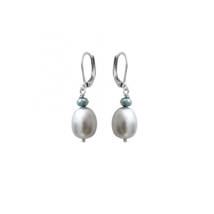 Boucles d'oreilles perles de culture argentées et cristal facetté