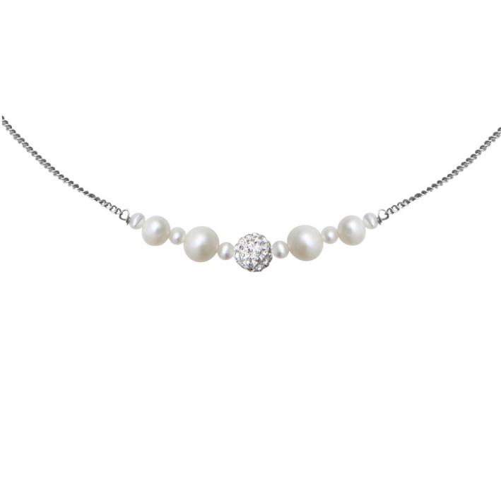 Collier perles de culture blanches et shamballa scintillante