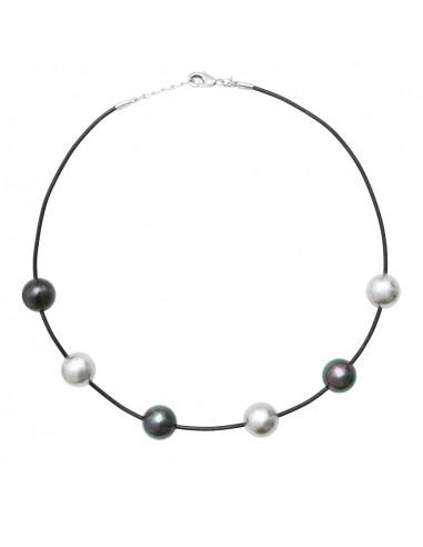 Collier duo de perles de nacre véritables noires et argentées sur cordon gris