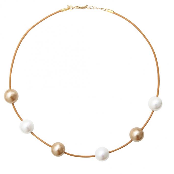 Collier duo perles de nacre dorées et blanches sur cordon beige