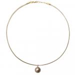 Collier une perle de nacre véritable dorée sur cordon beige