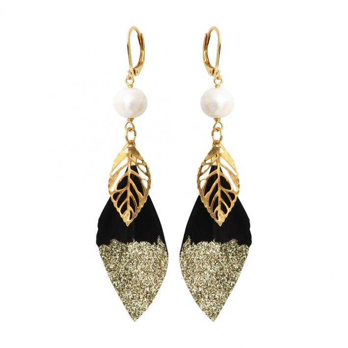 Boucles d'oreilles plume noire pailletée dorée et breloque dorée