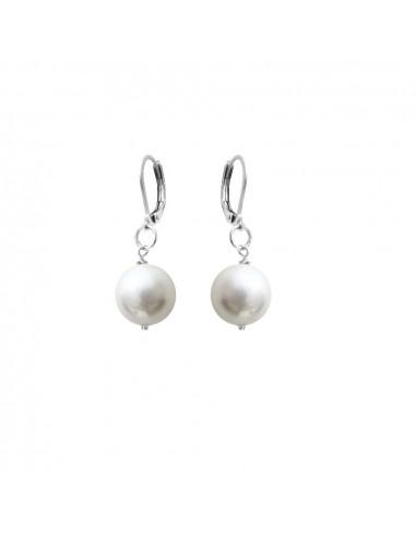 Boucles D Oreilles Dormeuses Irresistibles Perle De Nacre Blanche
