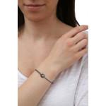 Bracelet une perle de nacre argentée sur coton ciré gris coulissant