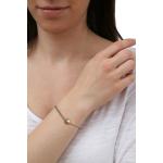 Bracelet une perle de nacre dorée sur coton ciré beige coulissant