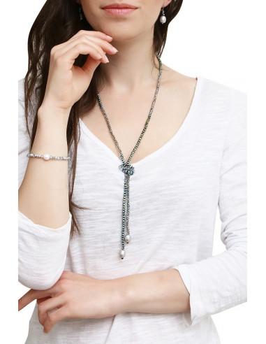 Sautoir de perles scintillantes et perles de culture argentées en goutte
