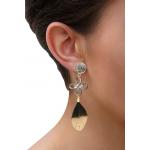 Boucles d'oreilles clip Brandebourg filigrané nacre et plume noire