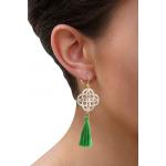 Boucles d'oreilles trèfle filigrané en nacre et pompon vert