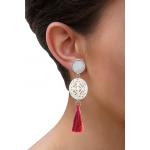 Boucles d'oreilles clip croix filigranée en nacre et pompon fushia