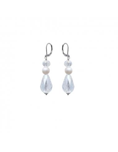 Boucles d'oreilles perles blanches et shamballas
