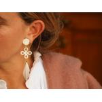 Boucles d'oreilles clip Brandebourg et plume blanche
