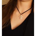 Pendentif Croix latine en véritables perles de culture