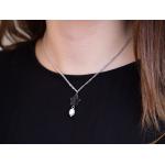 Collier étoile nacre noire et perle de culture en pampille