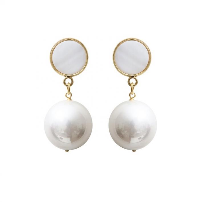 Boucles d'oreilles clip véritables grosses perles de nacre blanche