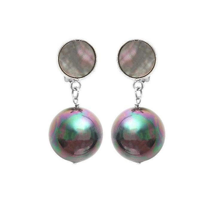 Boucles d'oreilles clip véritables grosses perles de nacre noire