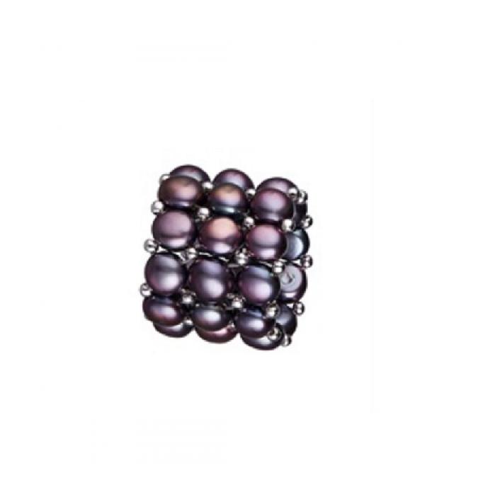 Bague élastique 3 rangs perles de culture noires