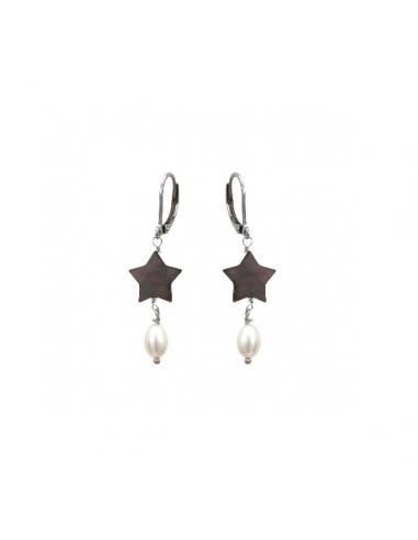 Boucles d'oreilles étoiles de nacre et perles de culture