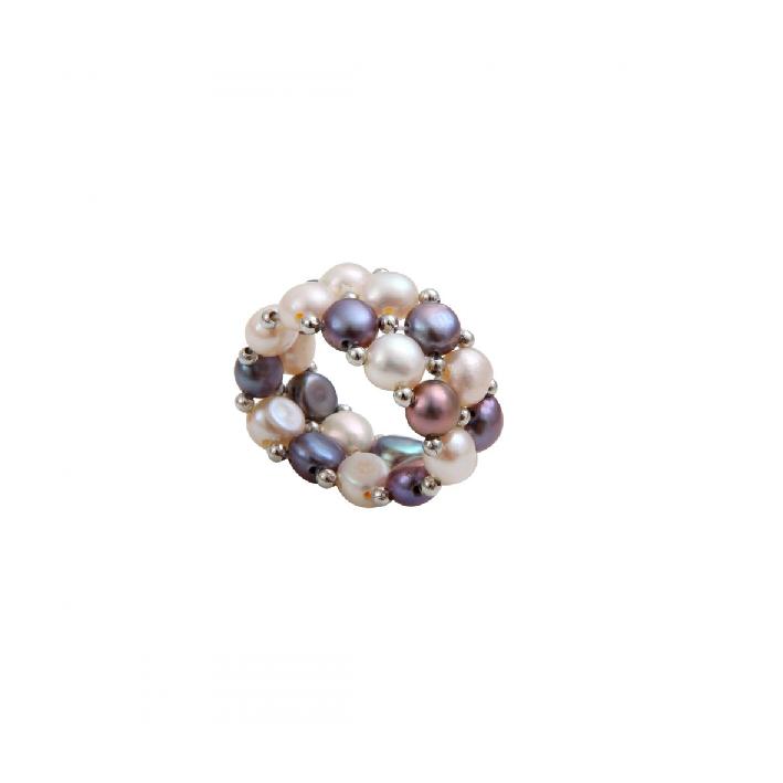 Bague élastique 2 rangs perles de culture tons argentés