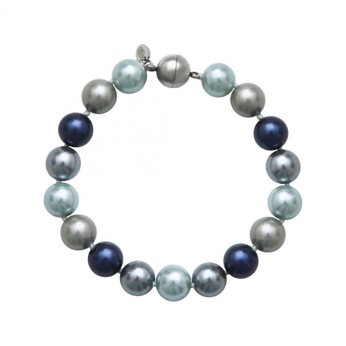 Bracelet de perles de nacre de bleu, gris perle et blanc