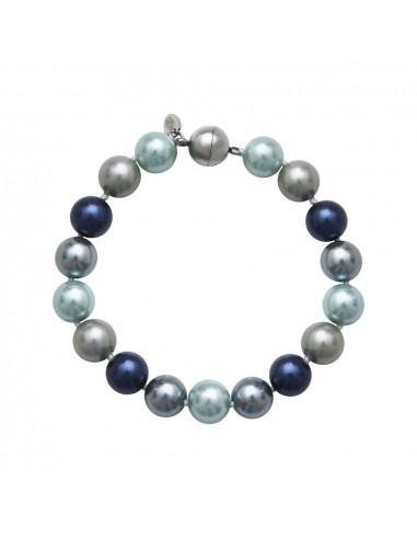 Bracelet un rang perles de nacre camaïeu de bleus