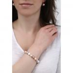 Bracelet double rangs perles de nacre blanches et camaïeu de roses