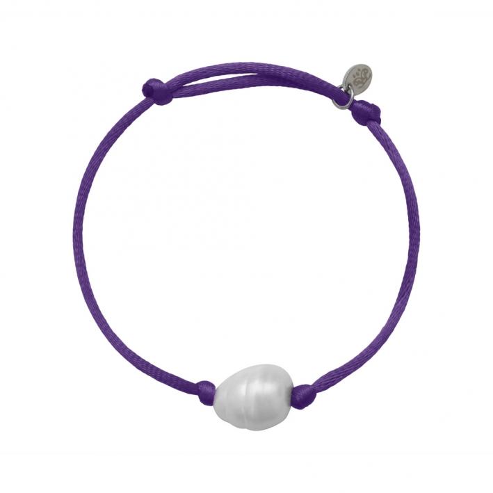 Bracelet une perle sur cordon satiné violet