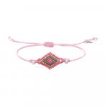 Bracelet losange de rocailles roses et perles