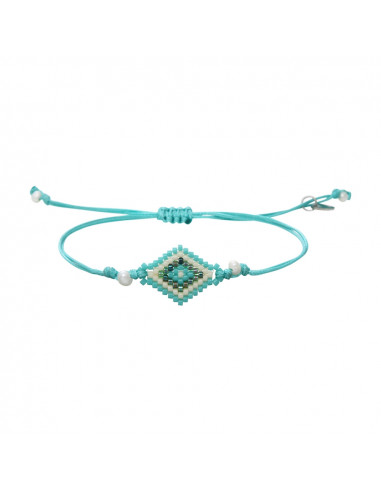 Bracelet losange de rocailles turquoises et perles