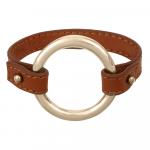 Bracelet cuir marron et anneau acier plaqué or