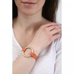 Bracelet cuir orange et anneau acier plaqué or