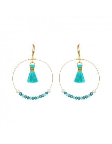 Créoles perles de cristal trio de bleus, pompons et perles blanches