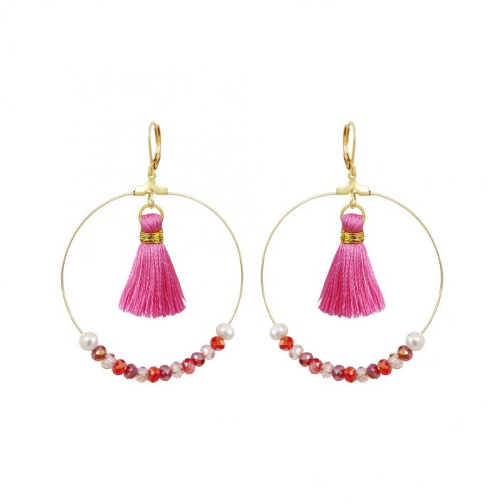 Créoles perles de cristal trio de roses, pompons et perles blanches
