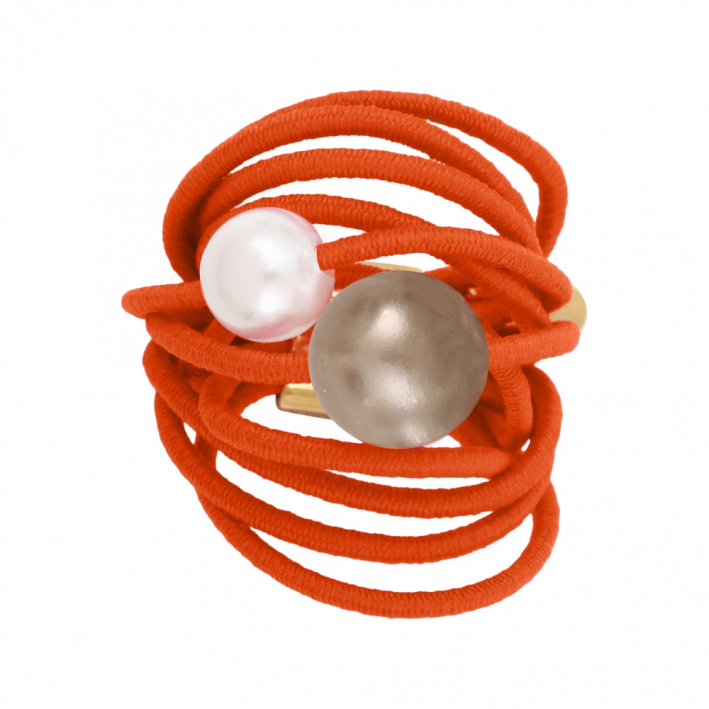 Bague multi rangs élastique orange et duo de perles de nacre