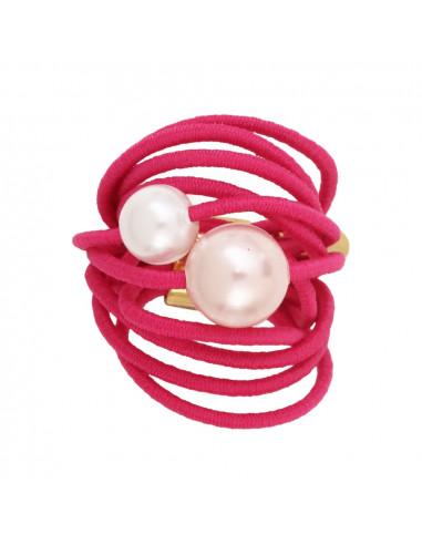 Bague multi rangs élastique rose et duo de perles de nacre blanche et rose