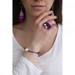 Bague multi rangs élastique violet et duo de perles de nacre parme