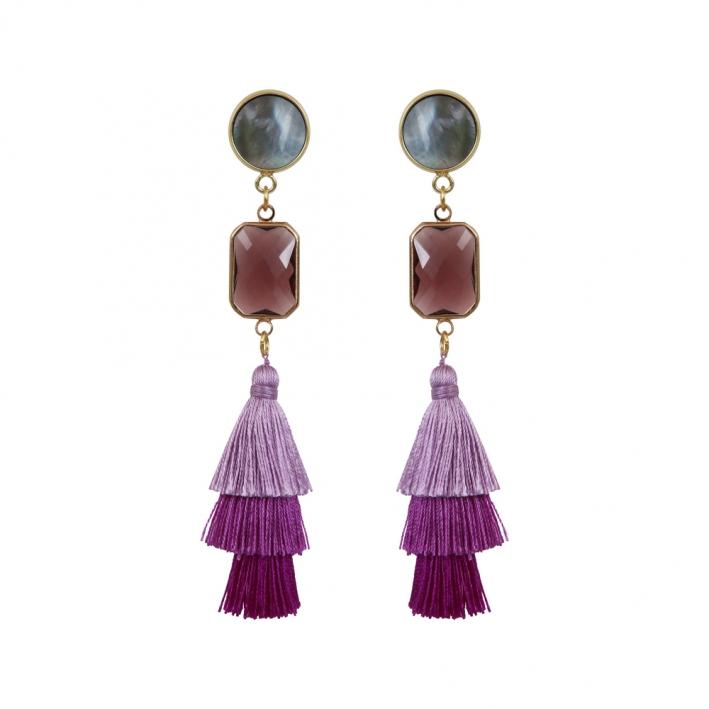 Boucles d'oreilles clip trio de pompons violets et cristal
