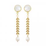 Boucles d'oreilles Clips longues lauriers dorés et perles blanches