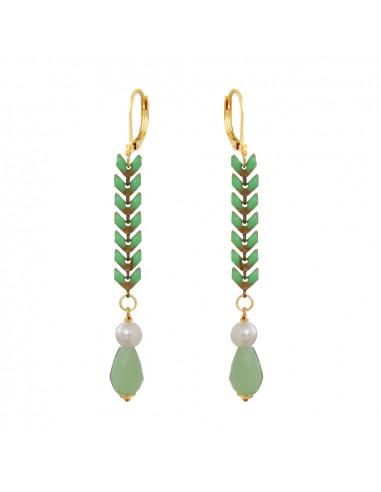 Boucles d'oreilles longues lauriers vert anis et perles blanches