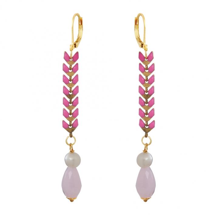 Boucles d'oreilles longues lauriers roses et perles blanches