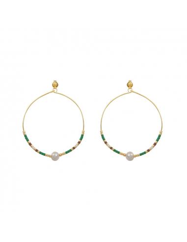 Créoles perles de rocaille vert anis et perles