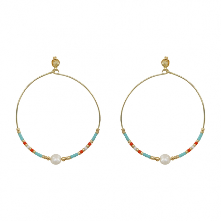 Créoles perles de rocaille turquoises et perles