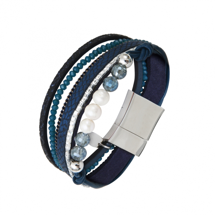 Bracelet multi-rangs cuir bleus strass et perles