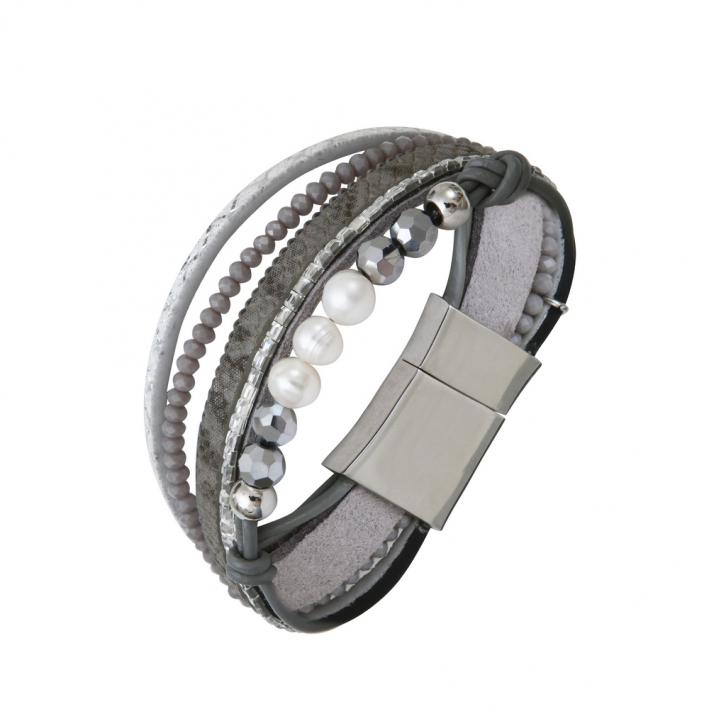 Bracelet multi-rangs cuir argentés strass et perles