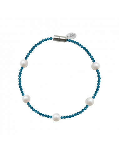 Bracelet cristal étincelant bleu turquoise et perles