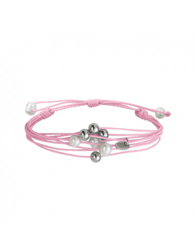 Bracelet multi-rangs perles sur cordon rose
