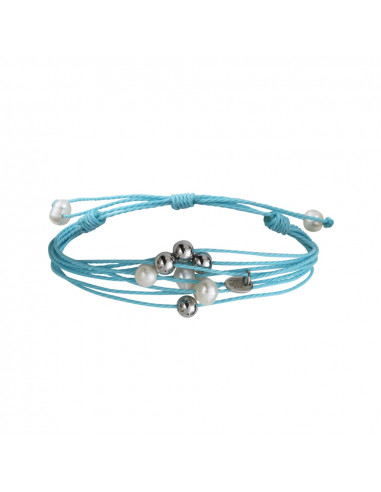 Bracelet multi-rangs perles sur cordon turquoise