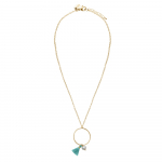 Collier un anneau pompon turquoise et perle