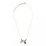 Collier perles cristal bleu saphir et pampilles nounours, pompon et perle de culture sur acier doré