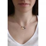 Collier perles cristal Vert Jade et pampilles LOVE, pompon et perle de culture sur acier doré