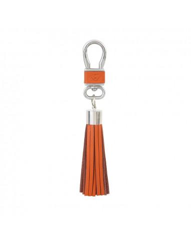 Porte clés en cuir avec pompon orange